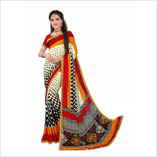 Heavy Georgette Saree With Lace