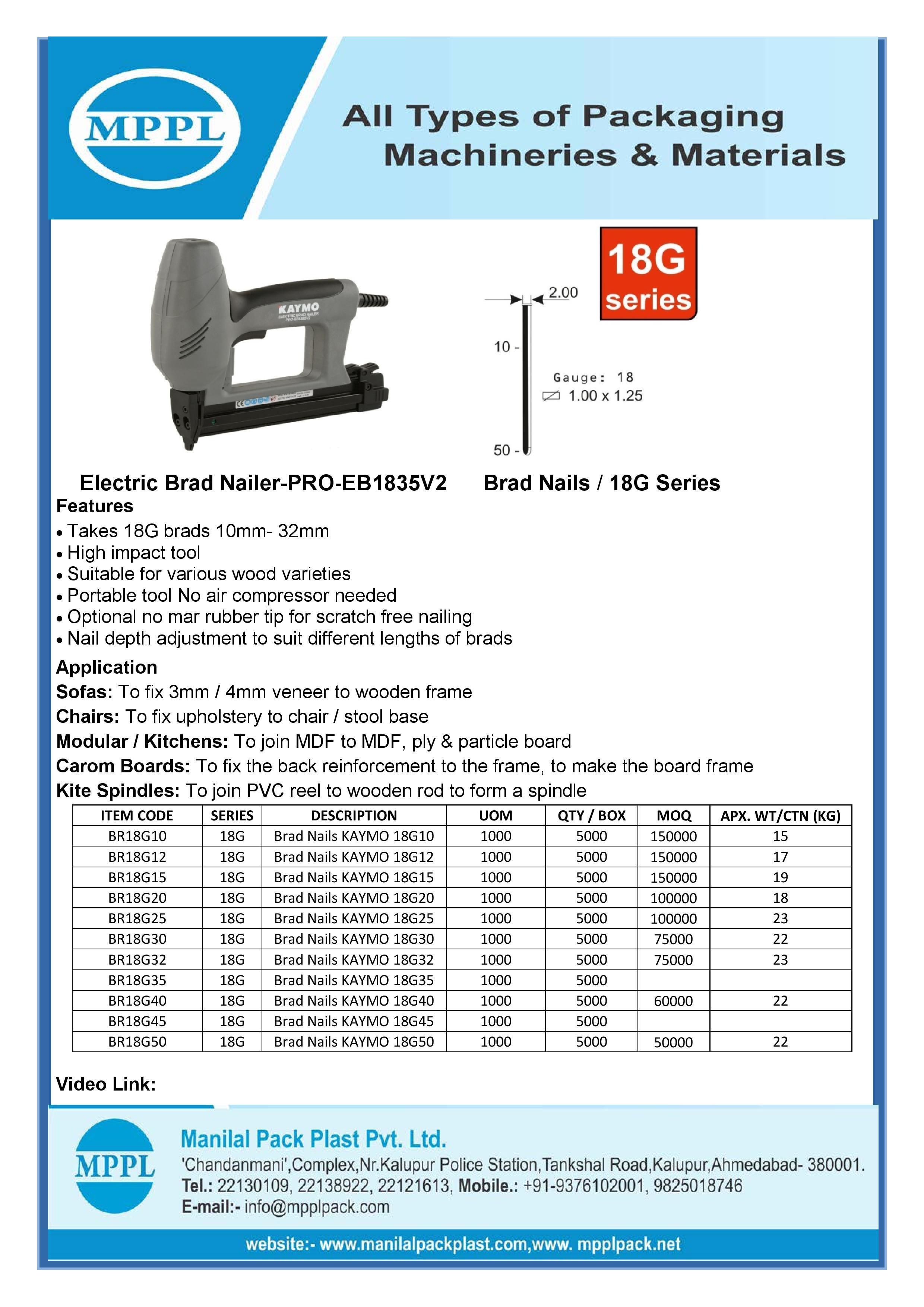 Electric Brad Nailer-PRO-EB1835V2