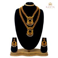 Traditional design temple Jewellery Half Dual Necklace set