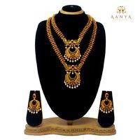 Traditional design temple Jewellery Half Dual Necklace set