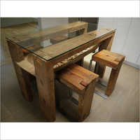Wooden And Glass Dining Set
