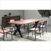 Wooden Wrought Iron Dining Set