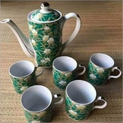 Floral Printed Ceramic Tea Cup Set