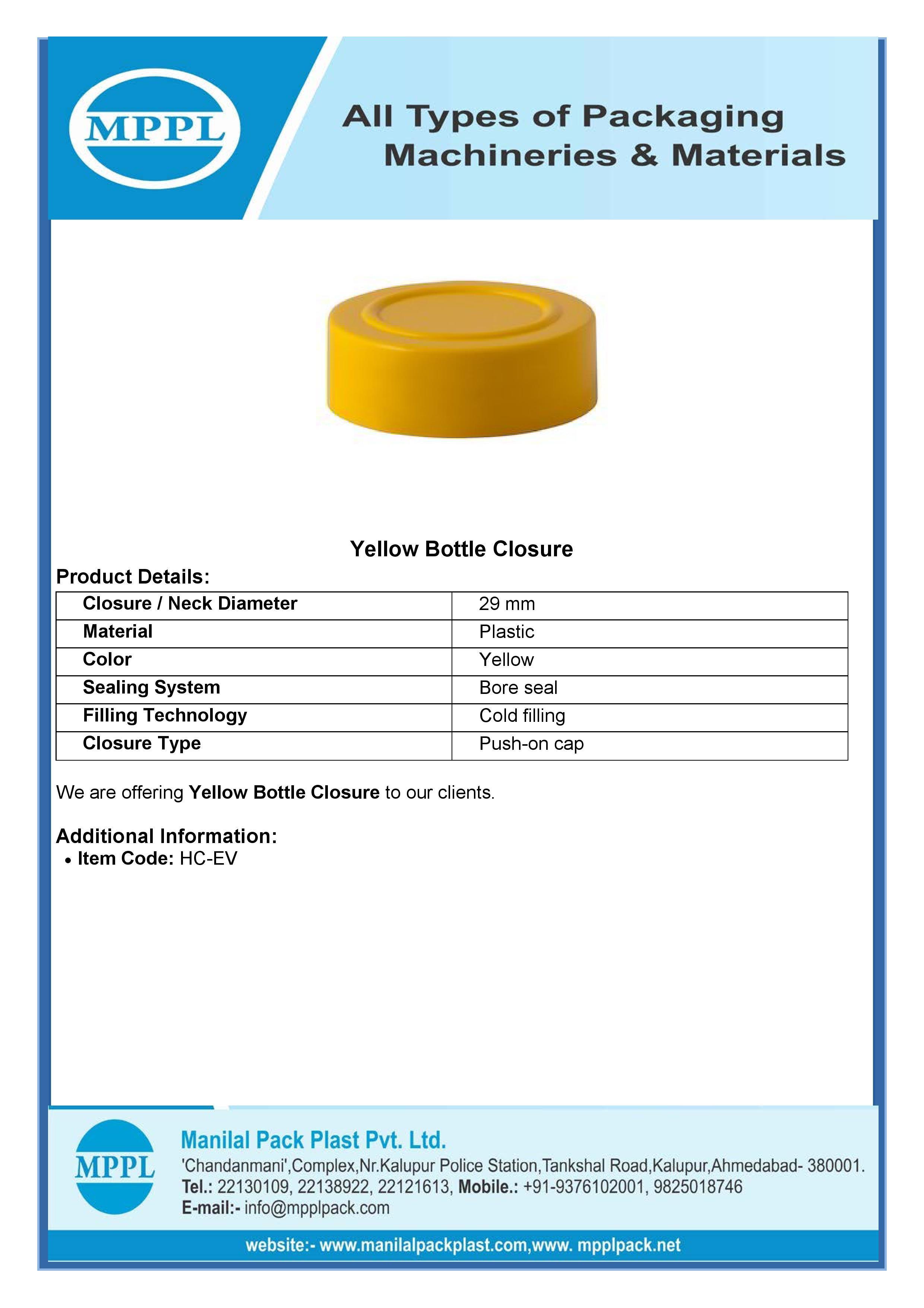 Yellow Bottle Closure
