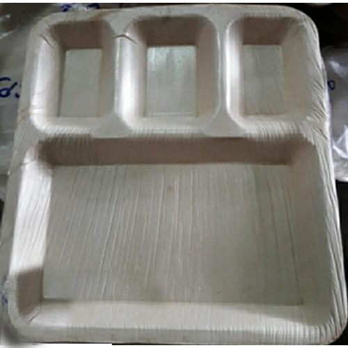 11x9 Inch Areca Leaf 4 CP Rectangle Plate