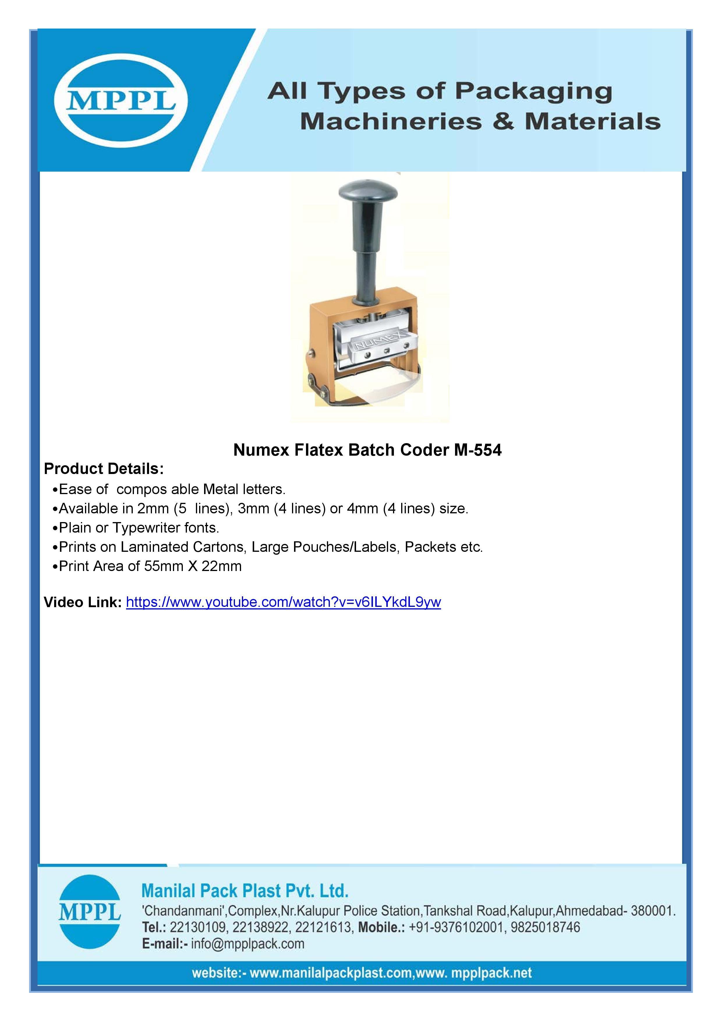 Numex Flatex Batch Coder M-554