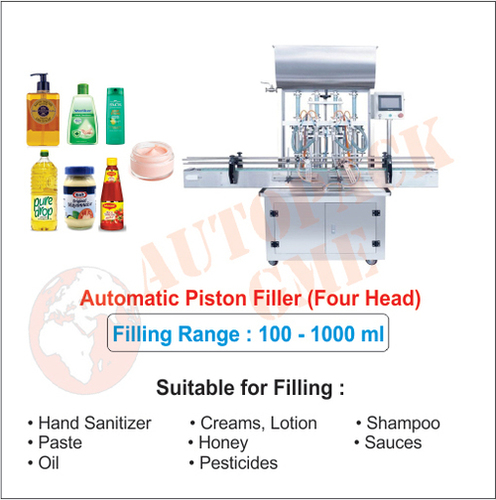 Automatic Cream filling 4 heads / Liquid, Gel, Hand Sanitizer, Paste, Oil Shampoo Filling Machine
