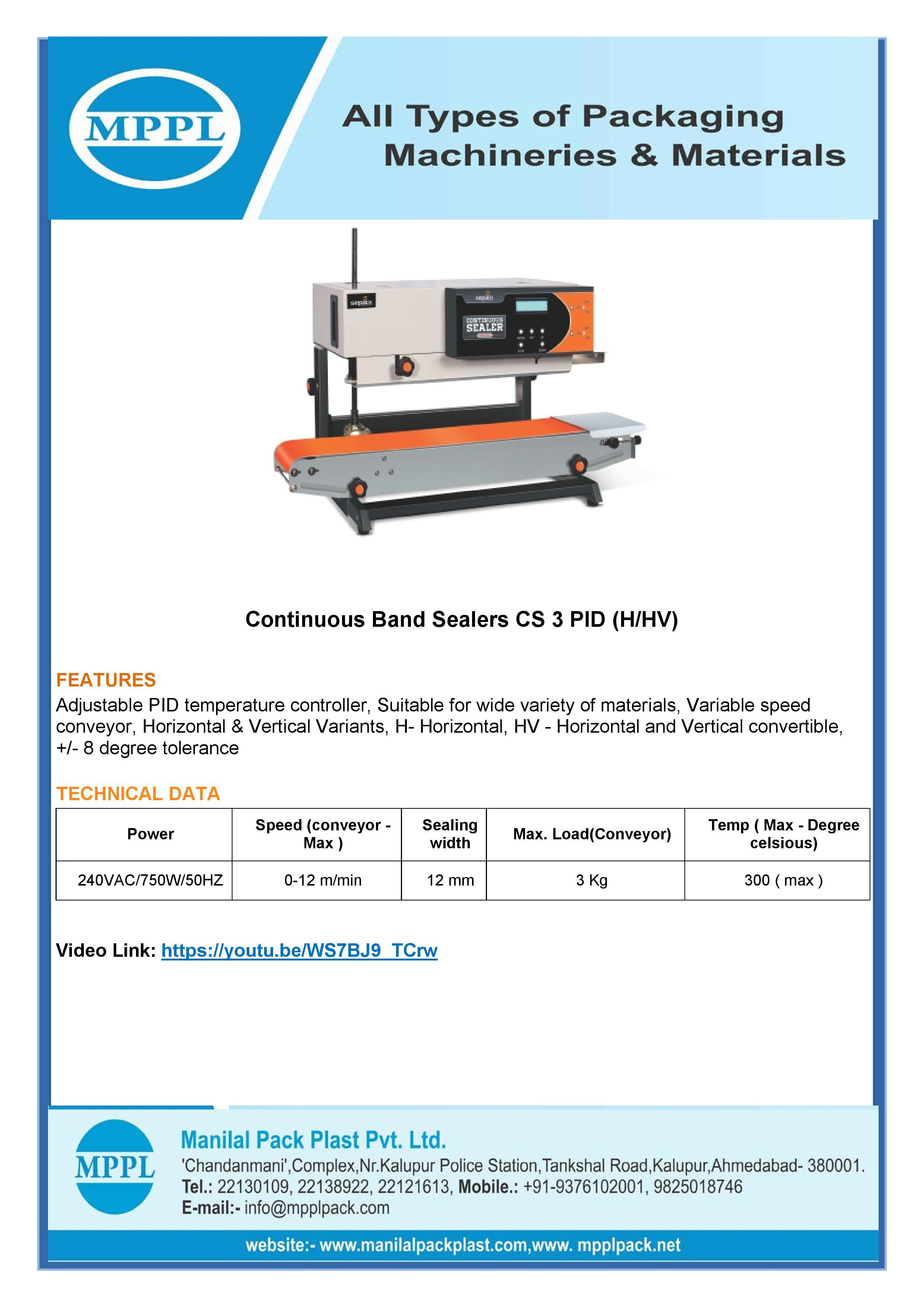 Continuous Band Sealer CS 3 PID H HV