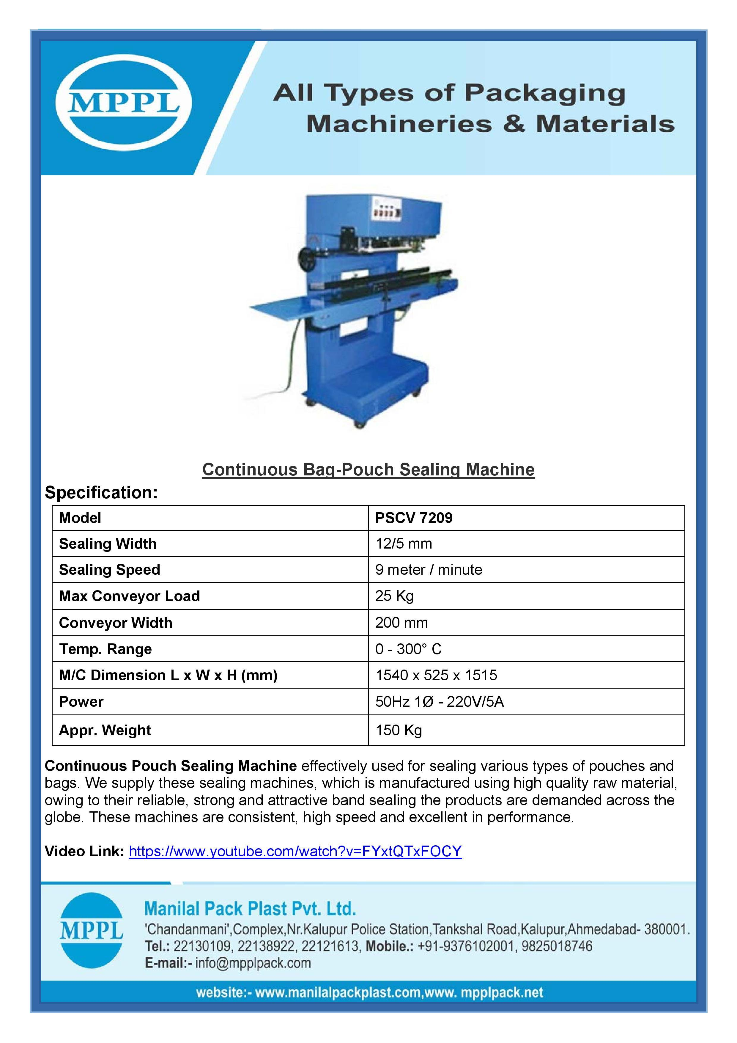 Continuous Bag-Pouch Sealing Machine 7209