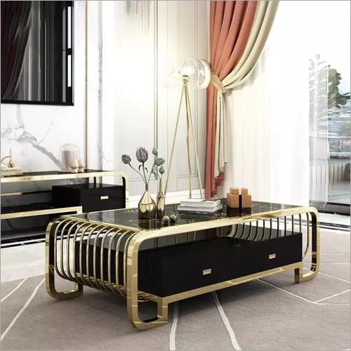 Home Long Inner Golden Metal Table