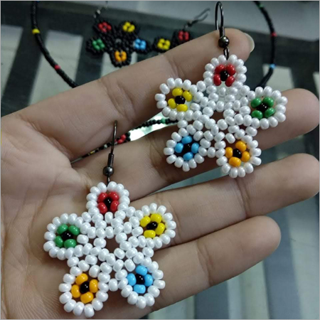 Seed Bead Flower Shaped Earrings