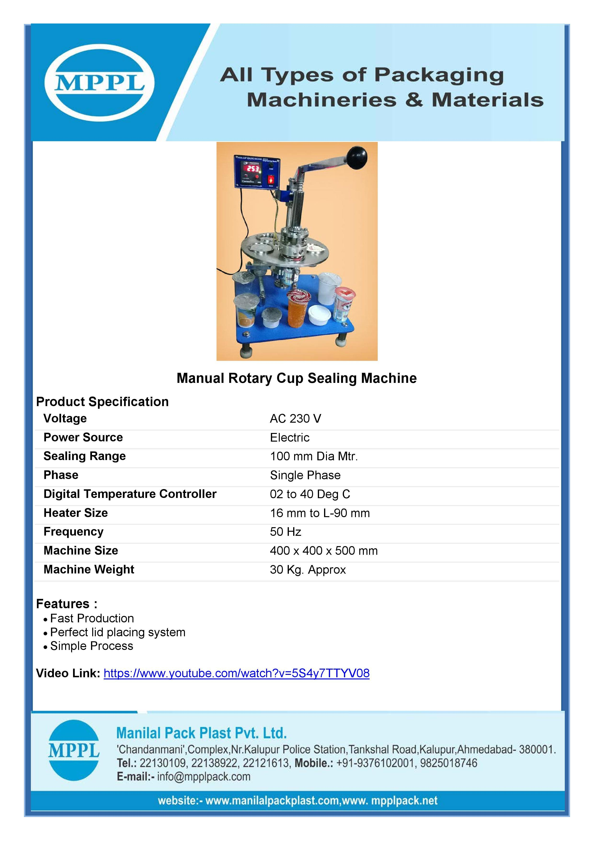 Manual Rotary Cup Sealing Machine