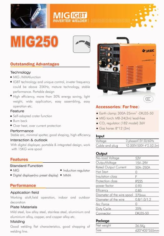 MIG WELDING MACHINE MIG 250 internal