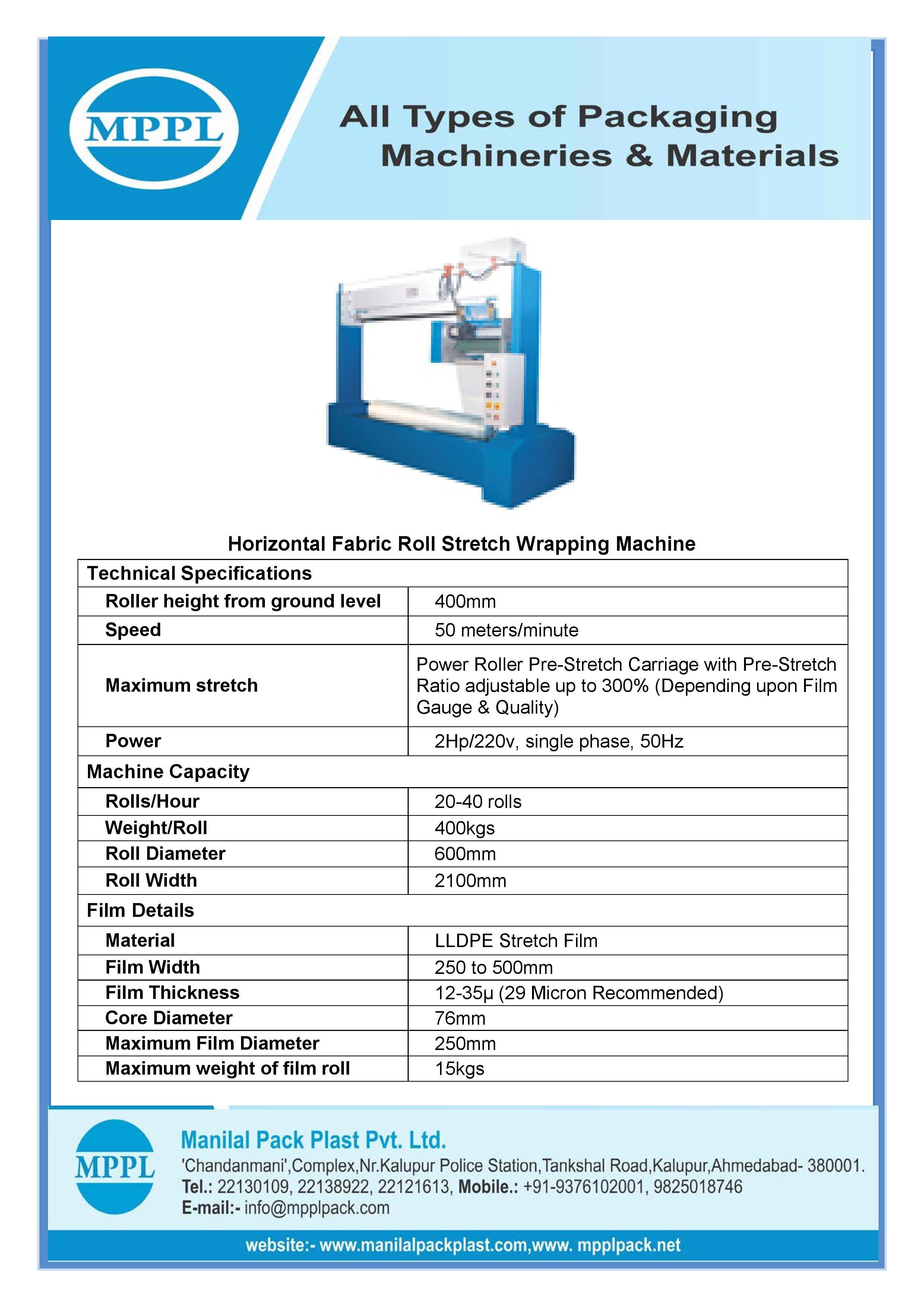 Horizontal Fabric Roll Stretch Wrapping Machine
