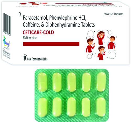 Paracetamol IP 500mg. + Phenylephrine HCI IP 5mg. + Caffeine (Anhydrous) IP 30mg. + Diphenhydramine HCI IP 25mg,  CETICARE-COLD