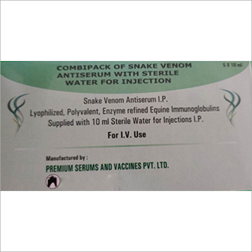 10 ml Combipack Of Snake Venom Antiserum With Sterile Water For Injection