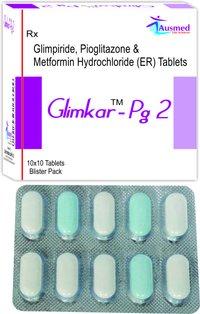 Glimepiride IP 1mg. + Pioglitazone Hydrochloride IP 15mg. + Metformin Hydrochloride      IP 500mg