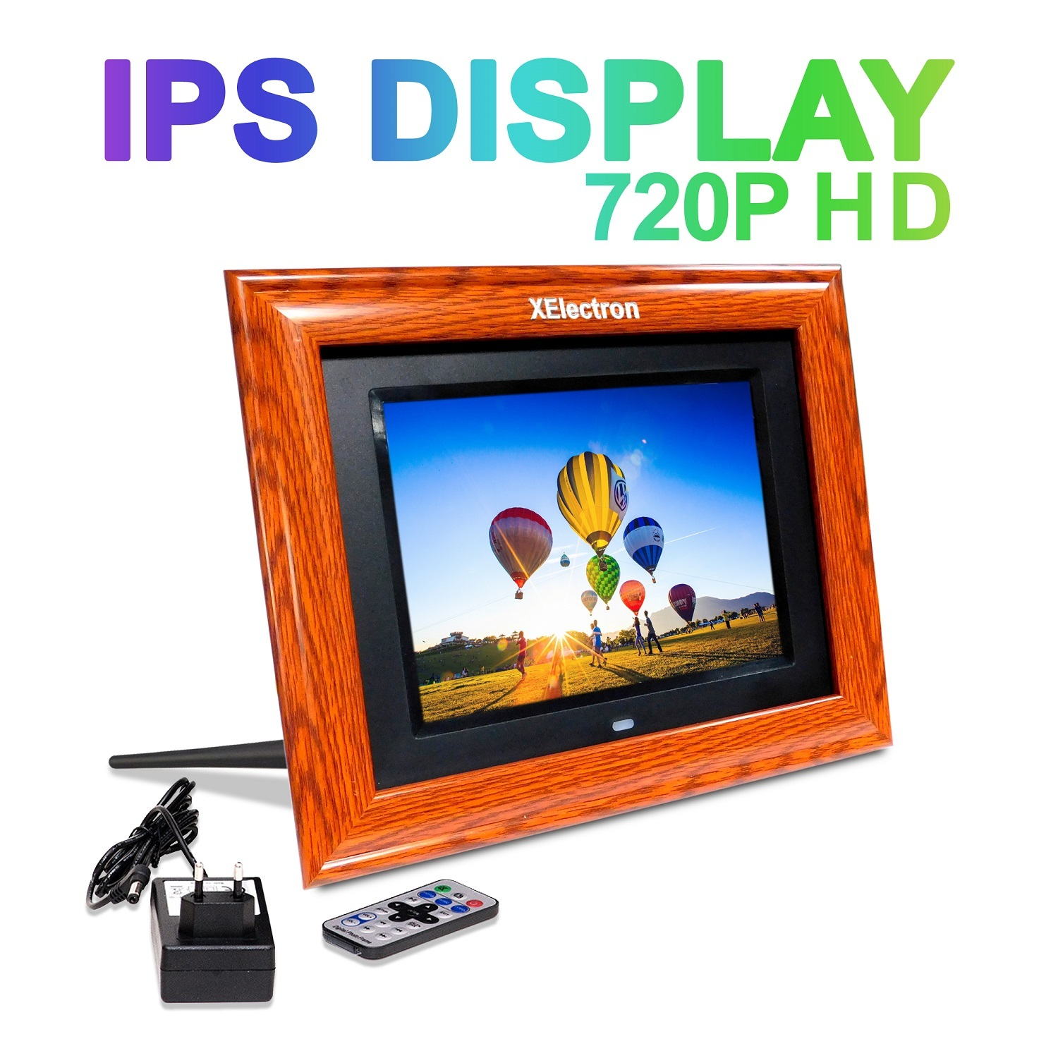 XElectron 8 inch IPS Display Wooden Digital Photo Frame/Video Frame Plays Images, Video & Music