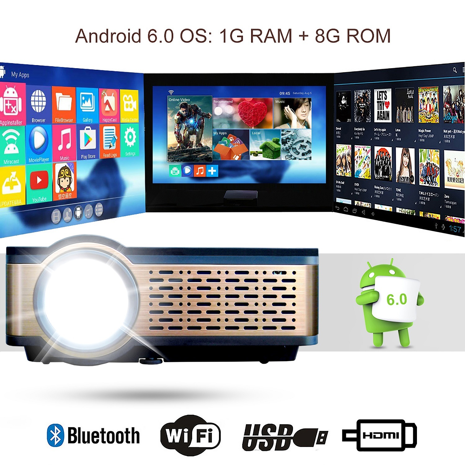 M2 Android LED Video Projector with Miracast, 3800 Lumen Support 1080P Display, Compatible with HDMI, SD, AV, VGA, USB
