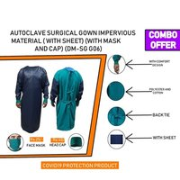 Combo Autoclave Surgical Gown Impervious Material With Full Cover Sheet