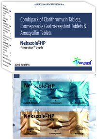 Clarithromycin Ip 500mg. +esomeprazole Magnesium Trihydrate Ip 40mg. +amoxycillin Trihydrate Ip 750mg./nekszole-hp