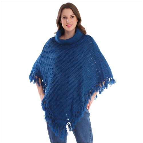 Blue Woolen  Poncho