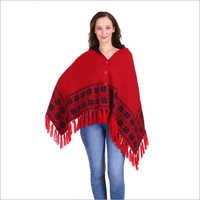 Designer Red Woolen Poncho