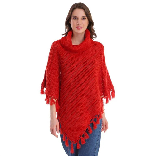 Red Woolen Poncho