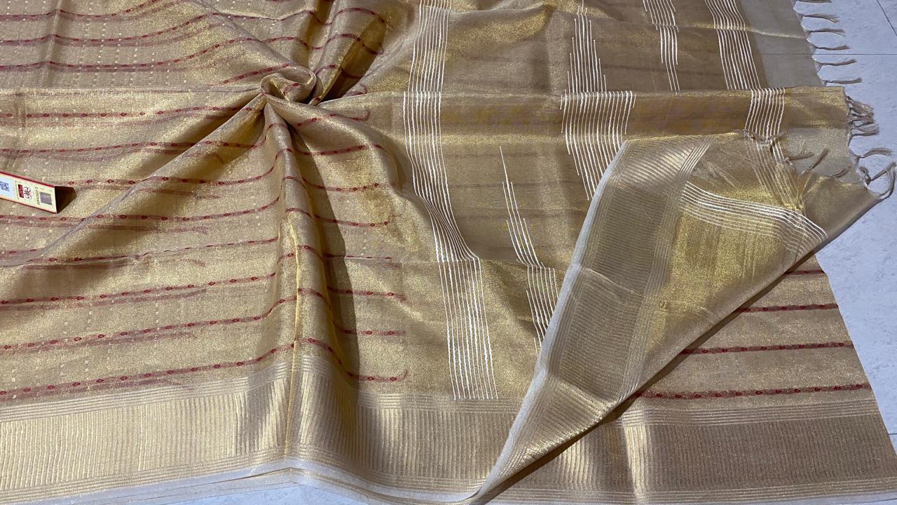 Pure Tissue Tussar Silk Self Weaved Saree.