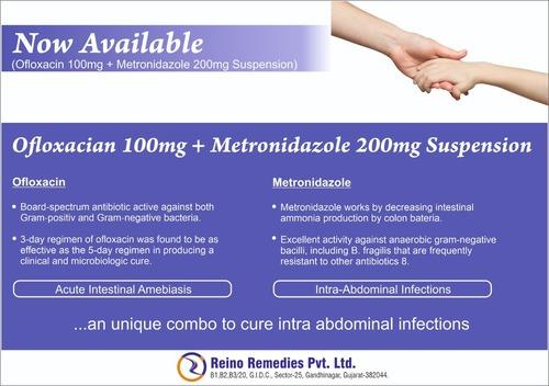 Ofloxacin 100mg + Metronidazole 200mg Suspension