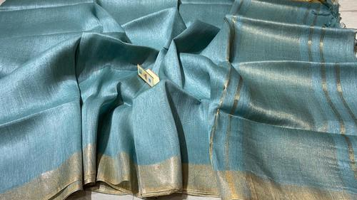 PURE LINEN SILK PLAIN SAREE .