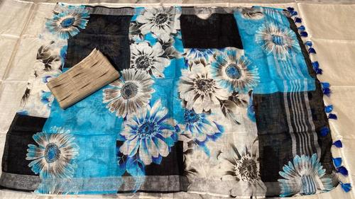 Pure Cotton Ikkat Top 2.5 Mtrs , With Linen Digital Printed Long 2.5 Mtrs Dupatta .