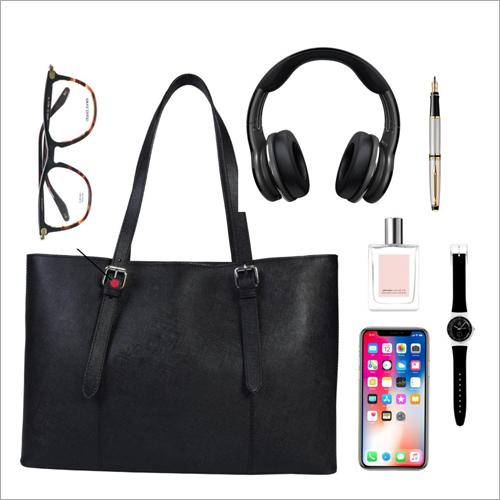 Ladies Black Leather Shoulder Handbags