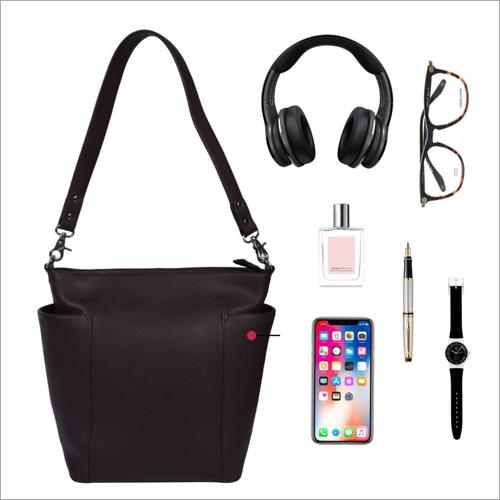 Ladies Brown Leather Shoulder Handbags
