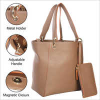 Ladies Tan Leather Shoulder Handbags