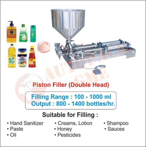 Jam Filling Machine (Double Head) / Piston Filler for Liquid, Oil, Shampoo, Honey, Cream, Paste