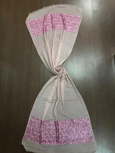 Sequin Border Silk Wool Hijab Scarf Shawls