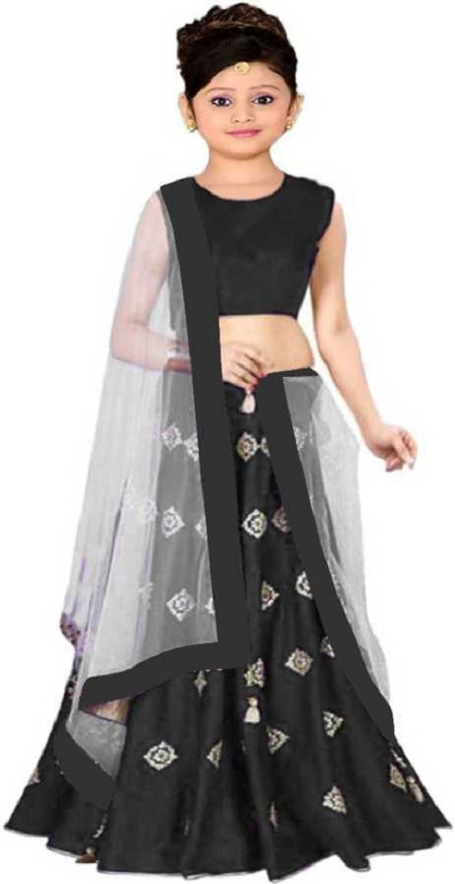 SILVER BUTTY Girls Lehenga Choli