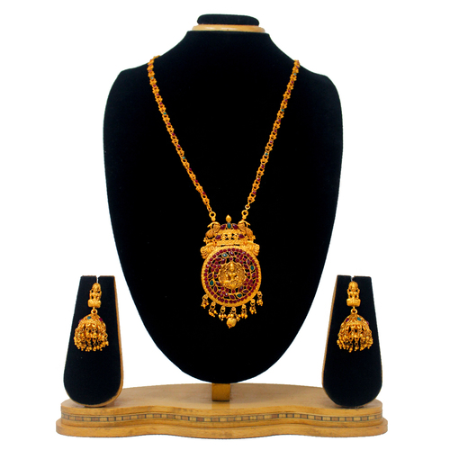 Traditional Design Temple Jewellery Pendant Set(Red)