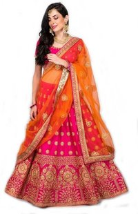 Pink Orange Kids Lehenga Choli