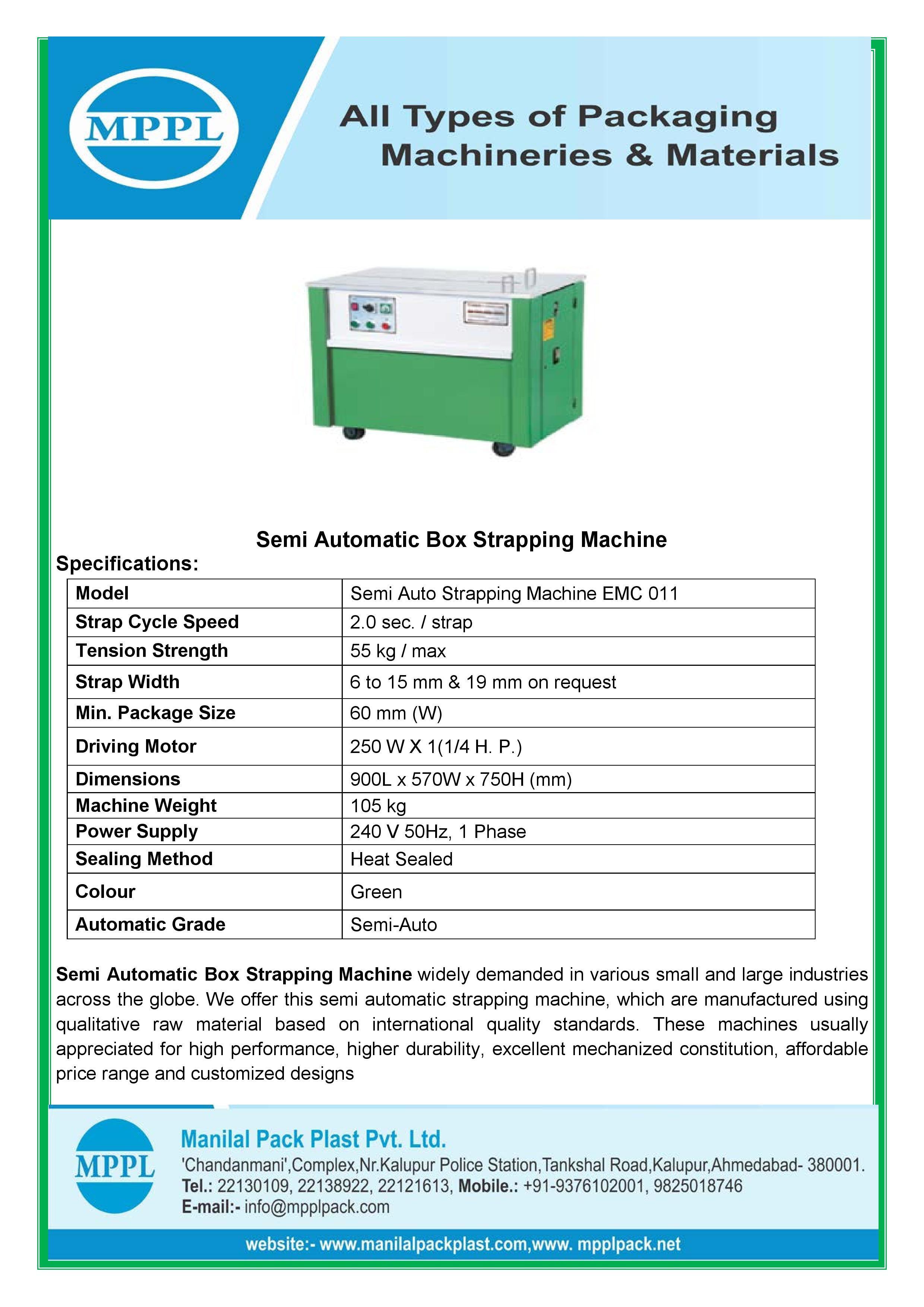 Semi Automatic Box Strapping Machine EMC011