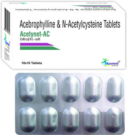 N-Acetylcysteine BP  600mg. + Acebrophylline  100mg./ACEYNET-AC