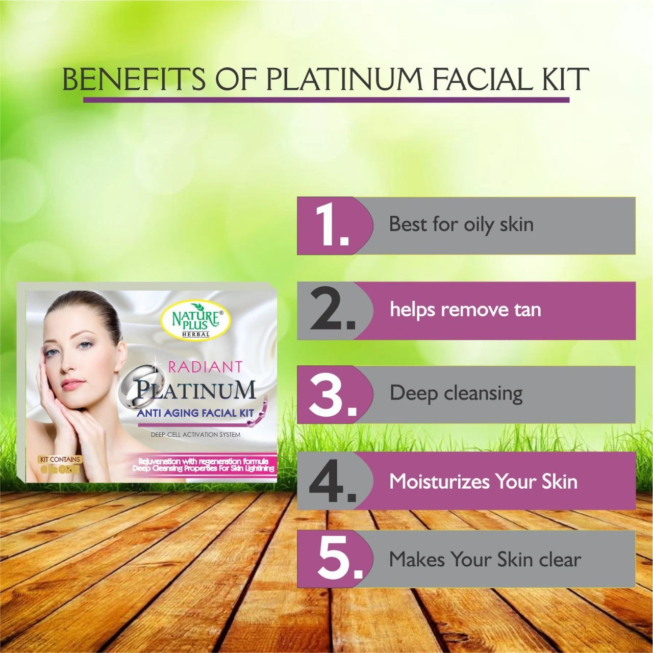 Nature Plus Herbal Platinum Anti-aging Facial Kit, 370gm