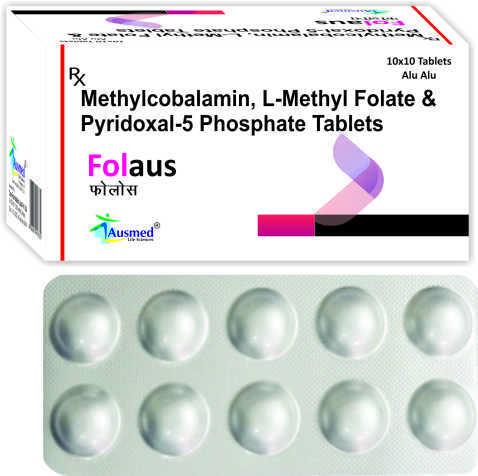 Methylcobalamin IP  1500 mcg. + L-5 Methyltetrahydrofolate Calcium eq. to L-Methyl Folate  1mg. + Pyridoxal-5 Phosphate  0.5mg./FOLAUS