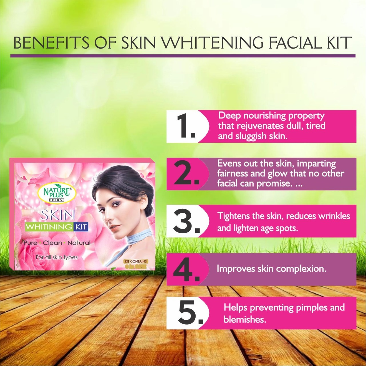 Nature Plus Herbal Skin Whitening Facial Kit, 370gm
