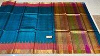 Pure Tussar Silk Handloom Sarees ,with Multicoloured Checks Jari Border , Jari Woven Pallu .