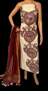 MADHUBANI HAND PAINTED PURE COTTON SILK KURTI OR LINEN LOND DUPATTA 2.5 MTRS .
