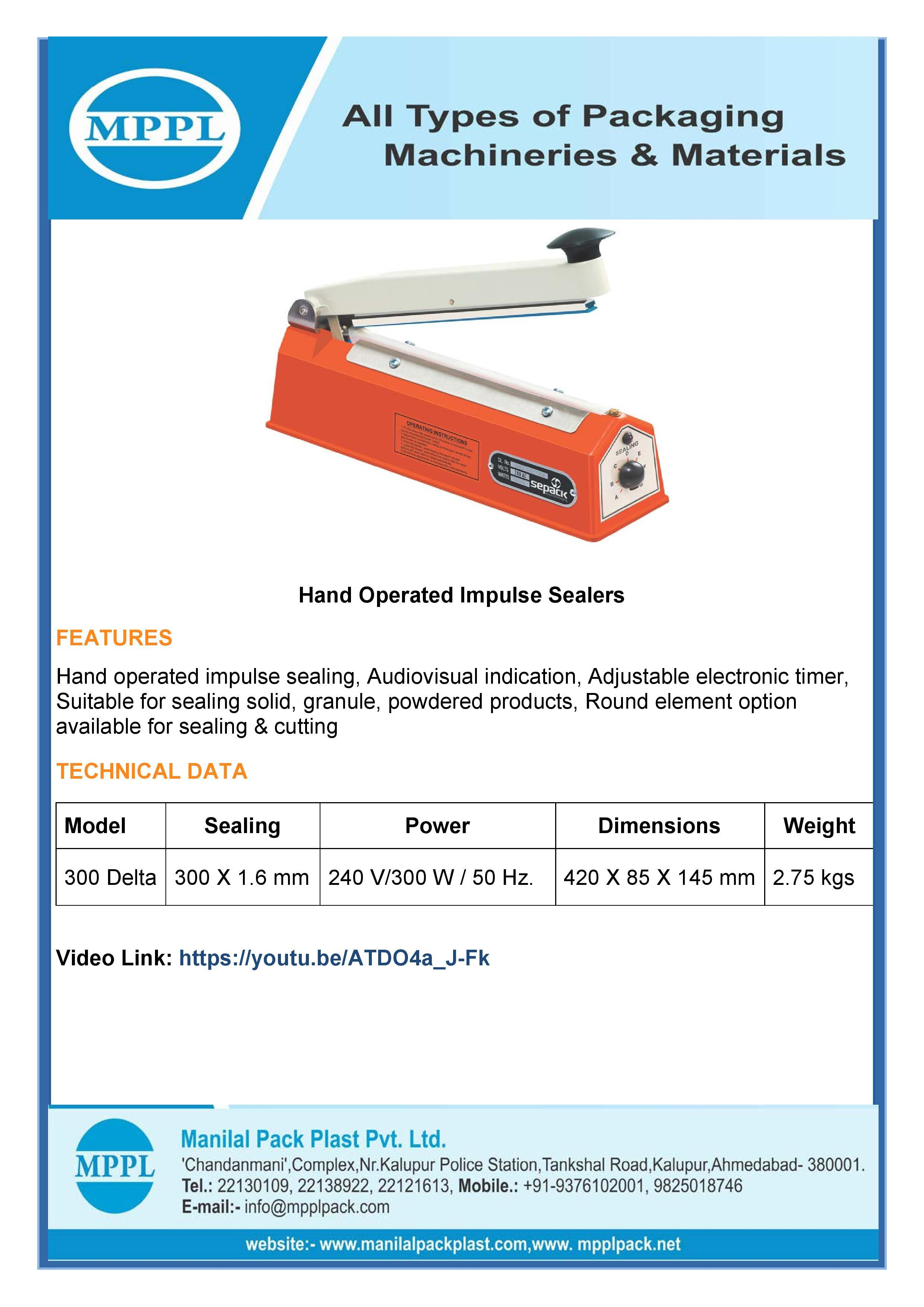 Hand Operated Impulse Sealers QS 300D