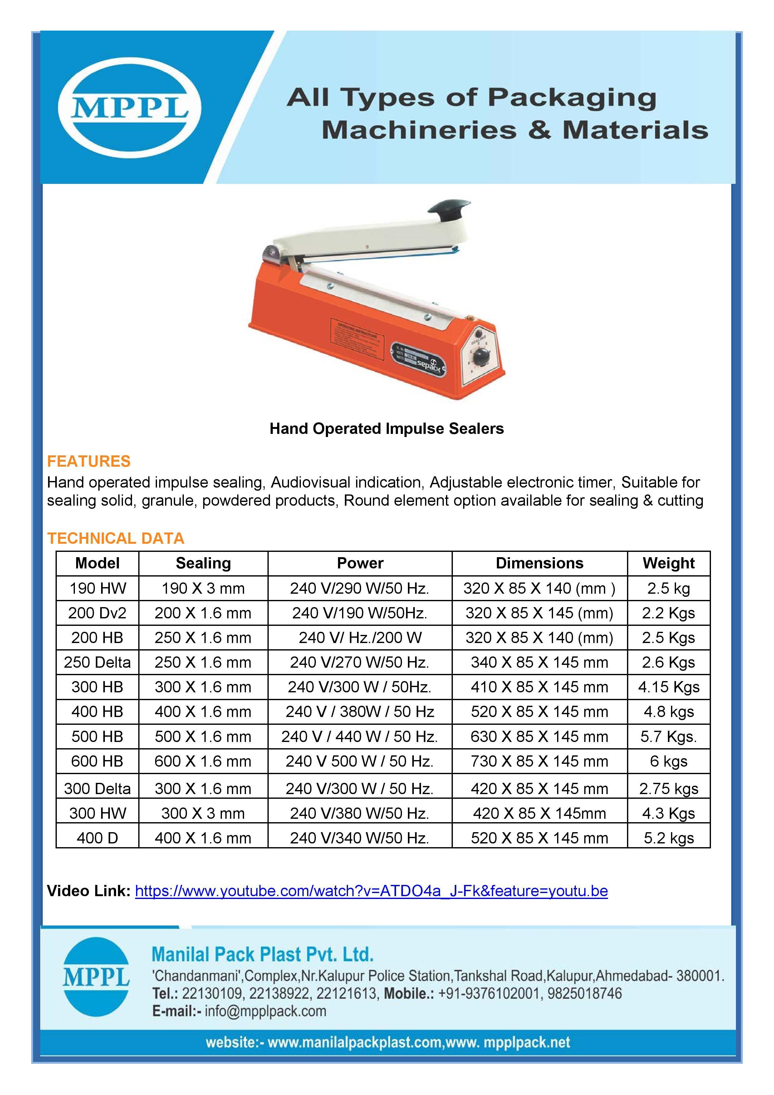 Hand Operated Impulse Sealer Series