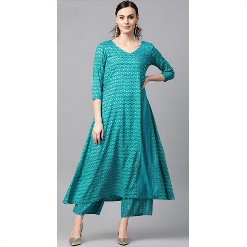 Ladies Casual Wear Rayon Kurtis With Palazzo